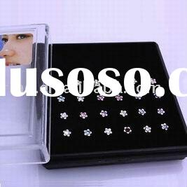 Wholesale 24pcs 316L Surgical Steel Nose Stud Ring
