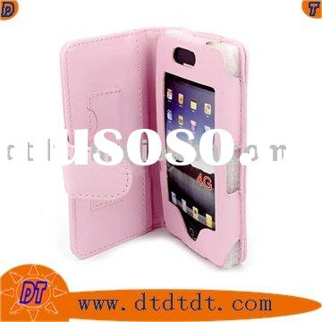 Pink leather case for apple iphone 4G accessories (horizontal)