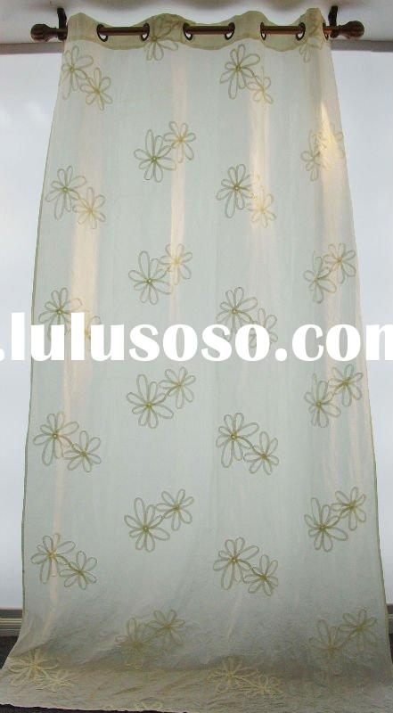 100% polyester faux silk ribbon embroidery loop curtain