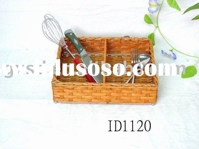 Eco-friendly rattan picnic spoon and fork basket
