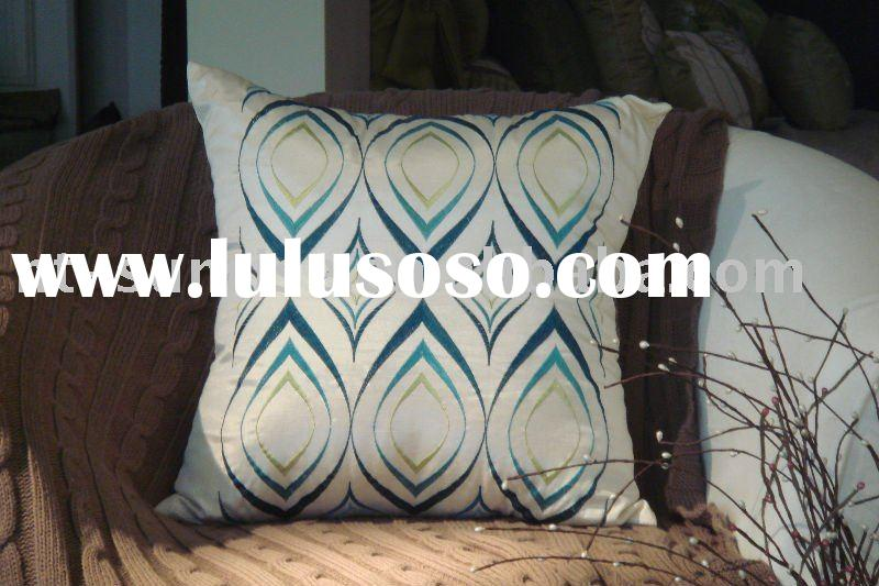 Faux Silk Embroidered Chair Cushion