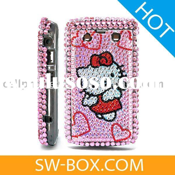 Hello Kitty & Hearts Diamond Bling Case Cover For BlackBerry Curve 8300 8310 8320 8330 - Silver