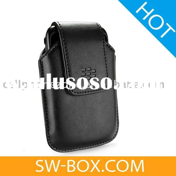 Leather Case Swivel Holster For BlackBerry Curve 8520 8530 (Black)