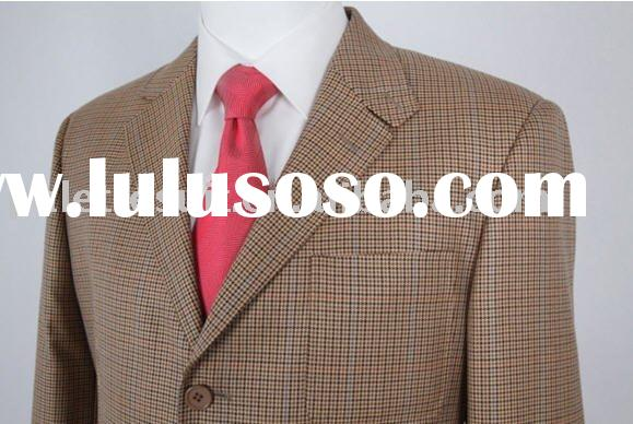Pure Woolen Yellow Check Classic England Style Mens Suit
