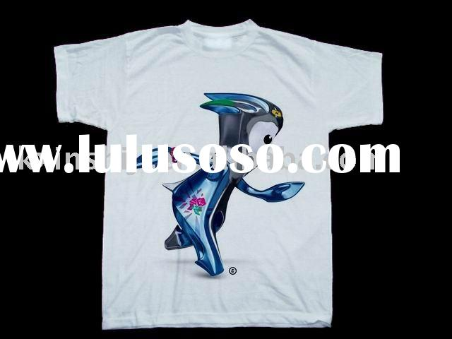 100 COTTON Tshirt with 2012 London Olympic Mascots.unique t-shirt