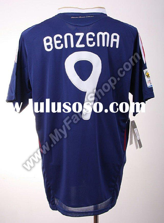 2010 world cup France Home soccer shirt (#9 BENZEMA) -Embroidery