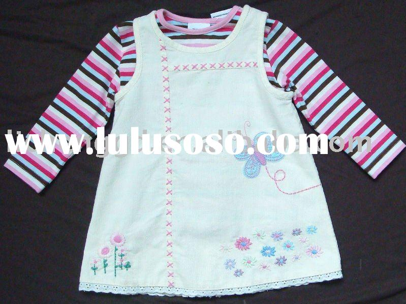 Child clothing sets   dress and t-shirt   H090#White