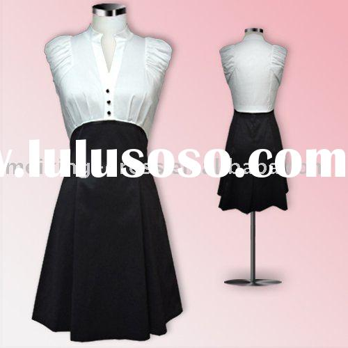 DT0020-black/white color block formal shirt dress