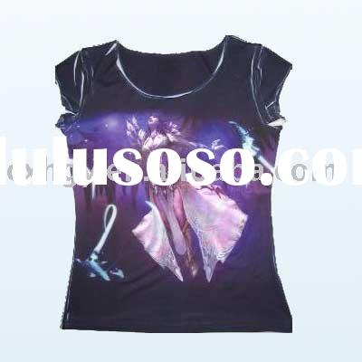 Digital Sublimation Printing Personalized O neck women T-shirt