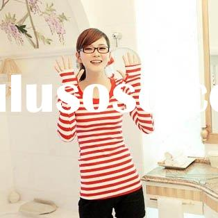 Fashion Stripes Red-White Long Sleeve T-shirts
