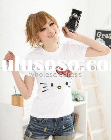 Hot Fashion!Simple Design Hello Kitty Printed T-shirt Black,Red,White