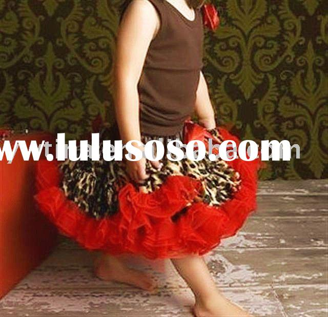 Leopard with Red Chiffon Ruffle Pettiskirt for Infant Toddler