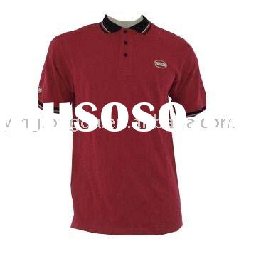 Men's Red 100% Cotton Polo Shirt with Black Collar