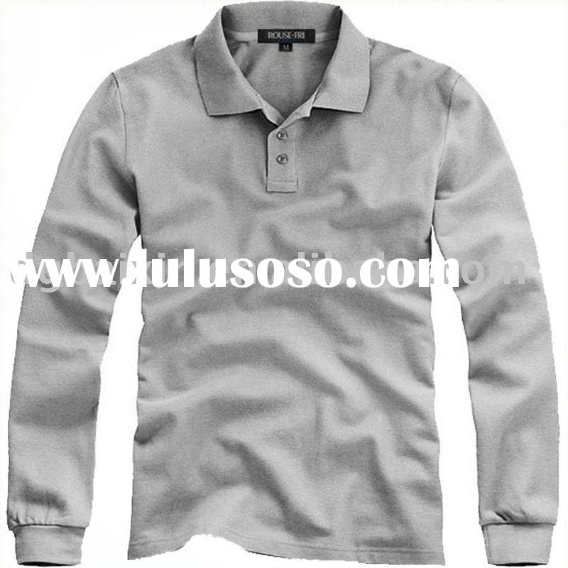 Men's brand fashion long sleeve polo shirt long shirts