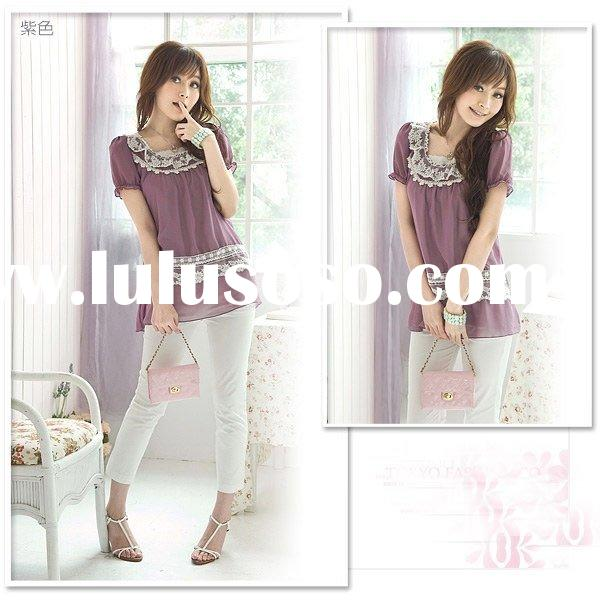 X9052912 -1 Rayli Fashion Short Sleeve Crewneck with Lace Decoration Chiffon Upper Garment puple