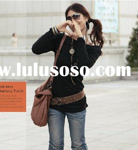 ,Fashion wear,Fashionable Slim Boat Neck Long Sleeves Cotton tShirt -Free Size C0808010