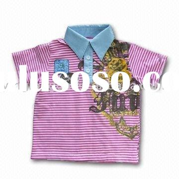 fashion boy's cotton polo shirts with woven collar and placket