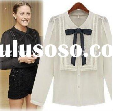 fashion design vintage Bow-Tie puff & long sleeve shirt
