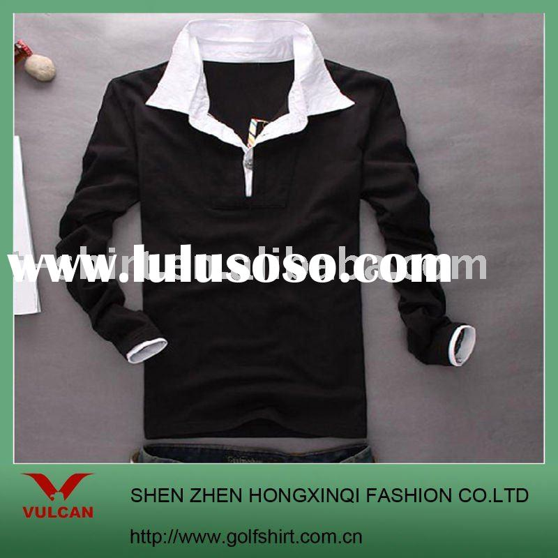fashion polo shirt black body white collar and cuff