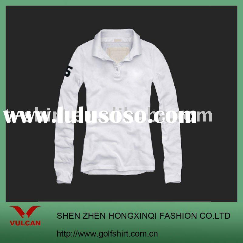 fashion white long sleeve men's polo shirt