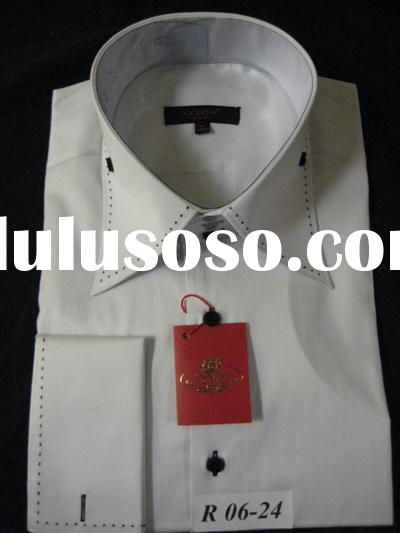 high spread stitching collar dress shirt