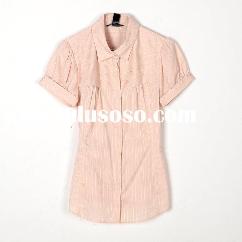lady's fashion loose Polo shirt, stripe blouse [cd0910]