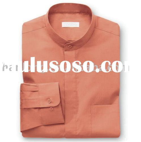 men's banded collar dress shirt (cotton/polyester long-sleeve)