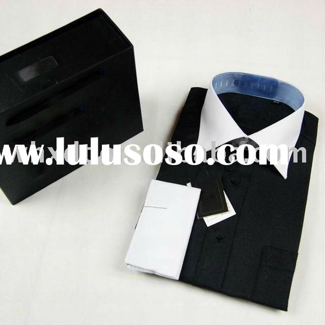 men's white collar dress shirt