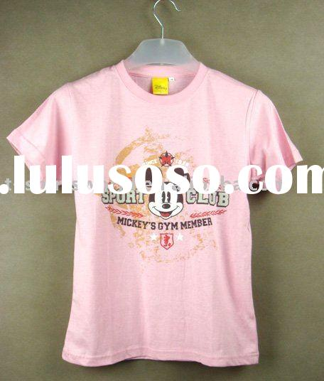 pink printing high quality ladies t shirts