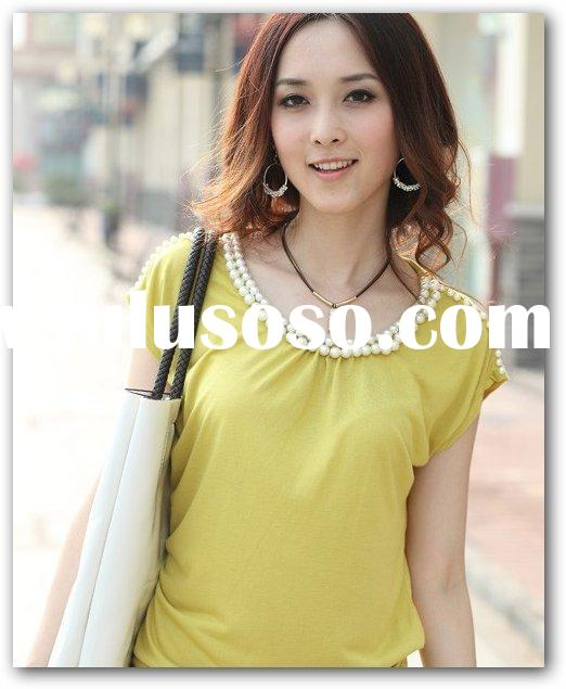 purple neck ladies fashion shirt(yellow)