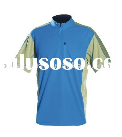 round neck zip collar short sleeve polyester t shirt,customized jogging jersry