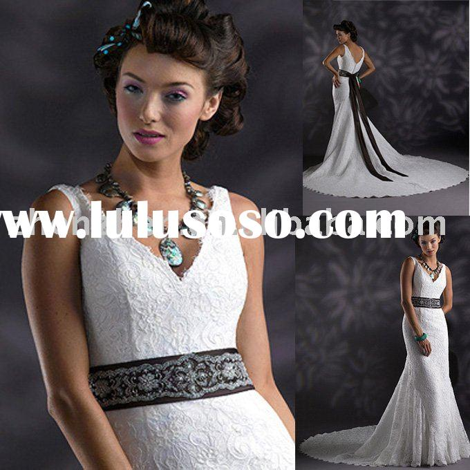 short sleeve white satin and lace bridal dress WD-906