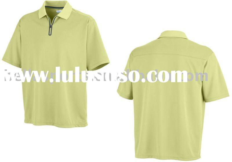 simple polo shirt design ,short sleeve summer shirt,rib collar,half zip