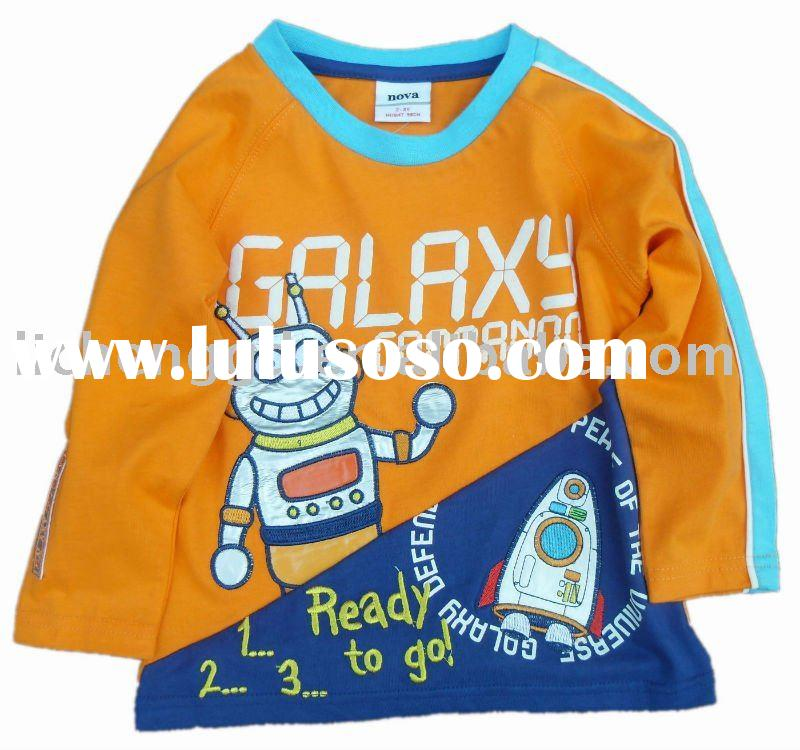 toddler boy cotton long sleeve robot  t-shirt    A421#Orange