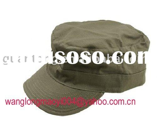 Custom flat military green hat and cap with 4 layer buttion back