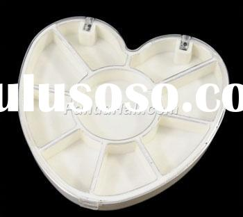 Plastic Beads Containers, Heart, 9 Compartments, about 6.6cm long, 7.1cm wide, 1.1cm high.(C086Y)