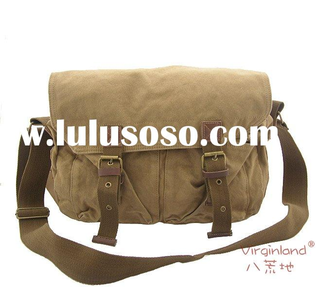 2361 khaki washed cotton canvas & leather canvas shoulder bag