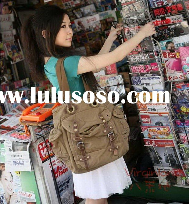 2807 canvas + genuine leather, leisure handbag, ladies' canvas shoulder bag