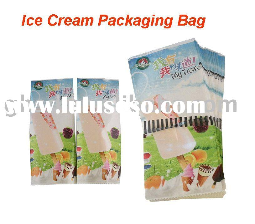 Plastic packaging bag for ice cream; Middle sealed bag