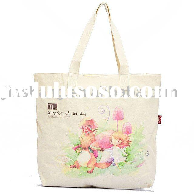 Printed Canvas fashion bag  tote bag eco friendly orangic cotton shopping handbags