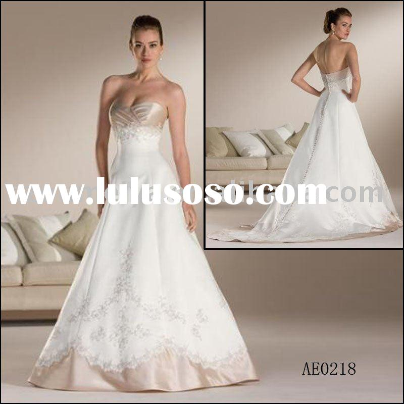 Strapless Princess Computer Embroidery Wedding Gown AE0218