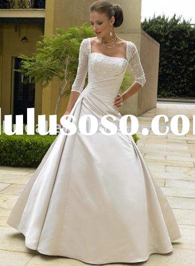 Stunning ball gown cap sleeve beaded applique satin lace up wedding dress