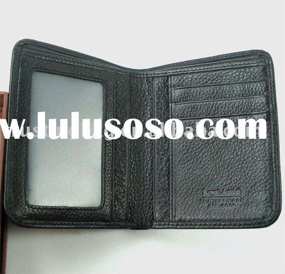 black two layer men genuine leather wallets