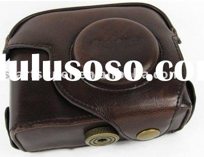 coffee leather camera bag