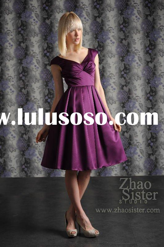 satin evening dress with cap sleeves