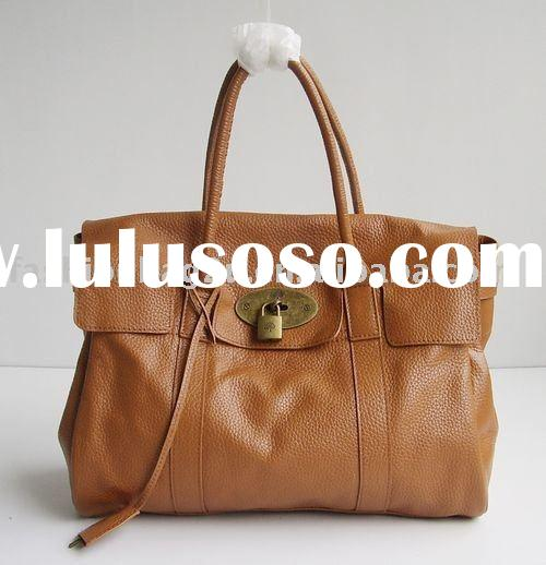 2011 new brand name brown leather bag
