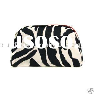 BLACK WHITE ZEBRA PRINT WITH PINK TRIM COSMETIC BAG
