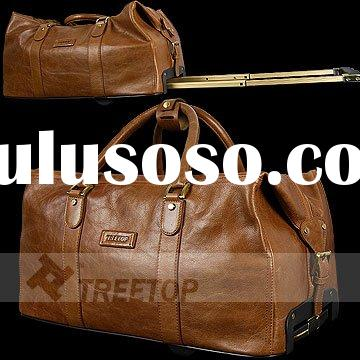 Genuine leather trolley bag with carry handles, travel trolley bag, luggage bag
