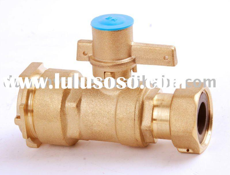 Lockalbe Brass straight type ball valve for water meter
