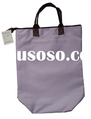 Nylon shopping bags with leather handle
